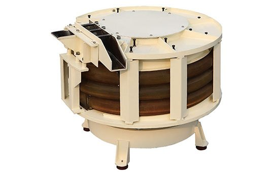 Spiral tub vibratory finishing machine