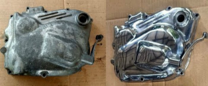 motor engine housing before and after polishing