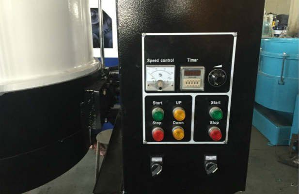 Centrifugal disc finishing machine control box