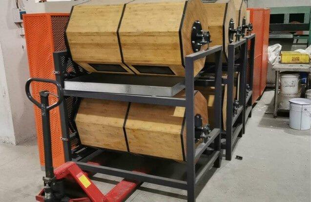 Wood rotary barrel polisher machine