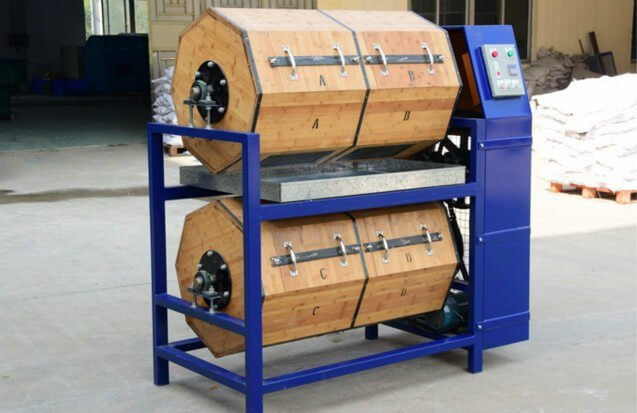 dry tumbling wood barrel rotary polisher